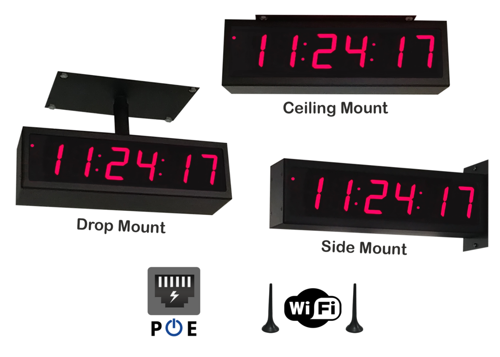 NTP PoE and WiFi Displays | TimeMachines Inc