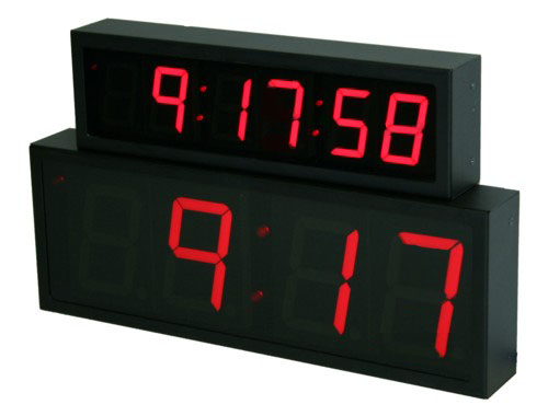NTP PoE Red Clock Digit Size Comparison 2.5-inch 6 digit and 4-inch 4 digit