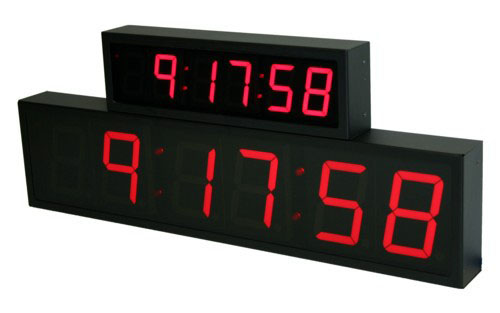 NTP PoE Red Clock Digit Size Comparison 2.5-inch 6 digit and 4-inch 6 digit