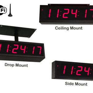 Image for NTP WiFi Double-Sided Clock Timer, Red, 6 Digits, Small Display