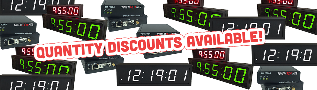 discounts on poe and wifi clocks, as well as ptp and ntp time servers with gps