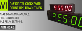 Buy Poe Ethernet Clocks With Count Up / Down Timer Now Available
