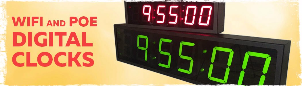 Power over ethernet and WiFi Digital Clocks