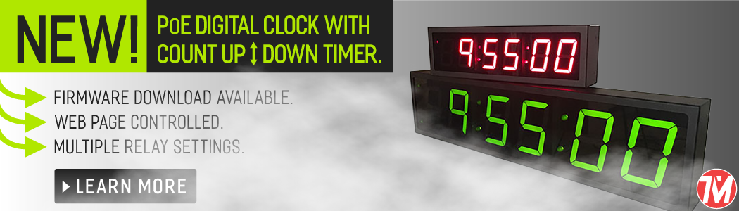 poe digital clocks with count up and count down timers