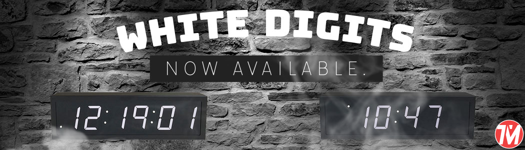 white digit poe clocks with wifi capability and power over ethernet